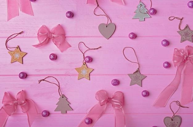 Set of christmas decor on wooden background