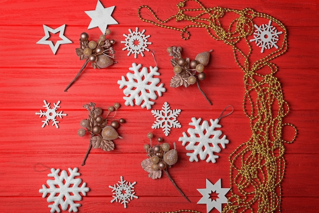 Set of christmas decor on wooden surface