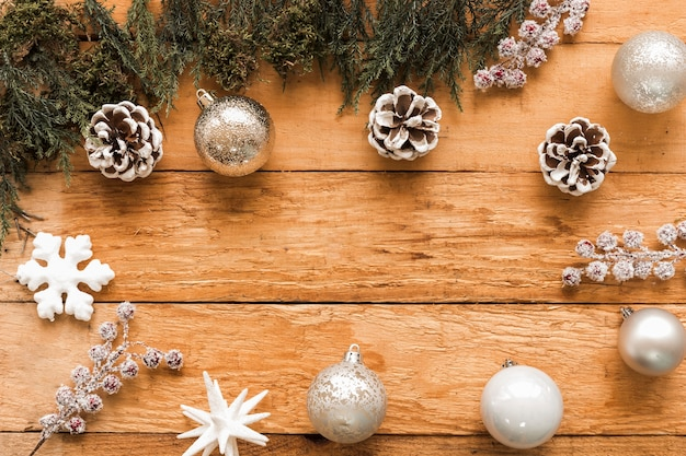 Set of christmas decorations and coniferous branches