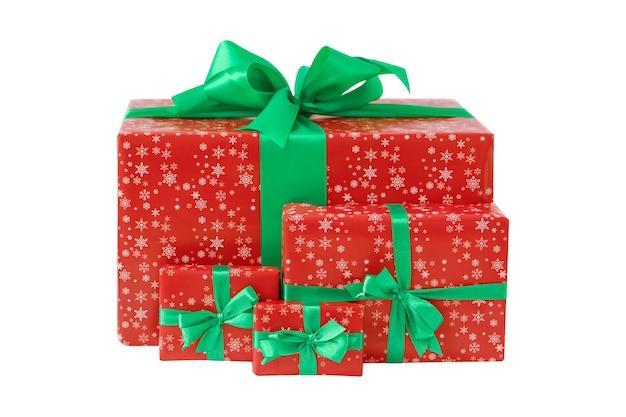 Set of christmas gift boxes isolated on white background