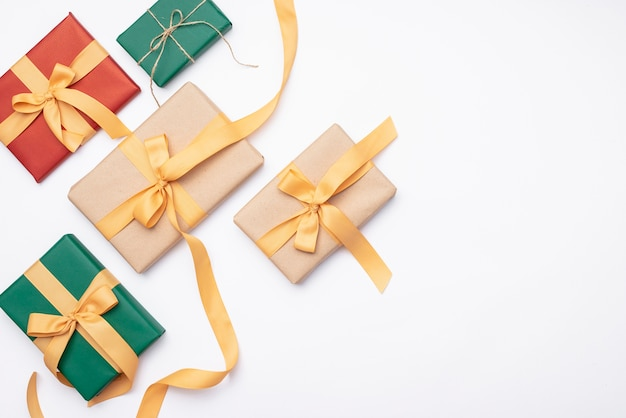 Set of christmas gifts on white background