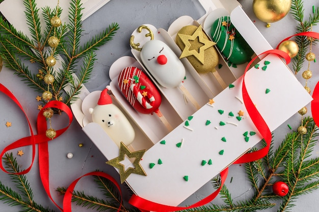 Set of christmas popsicle. cake on a stick.