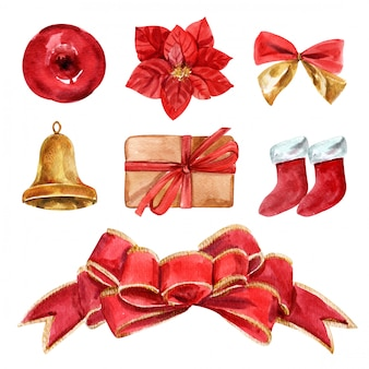Set christmas of red bows and ribbons