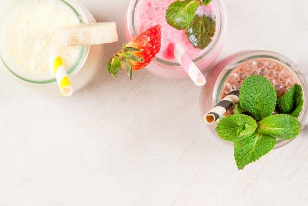 Set of classic milkshakes in small jars