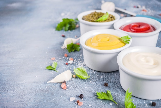 Set of classic sauces and spices