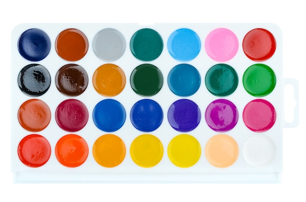 A set of closeup watercolors isolated on a white background.