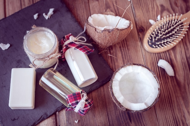 Set of coconut products for hair care and body