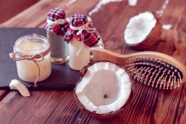 Set of coconut products for hair care