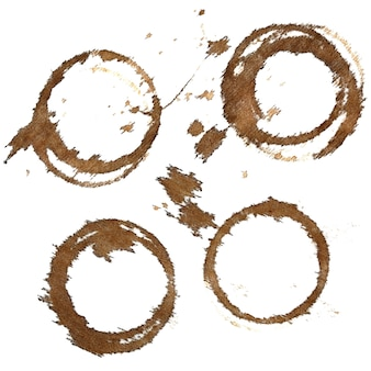 Set of coffee stains on textile tablecloth isolated on the white background