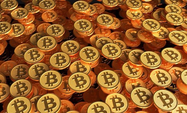 A set of coins with the image of the bitcoin logo