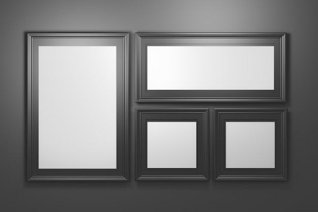 Set collection of four black luxurious picture photo frames with blank copy space on black background