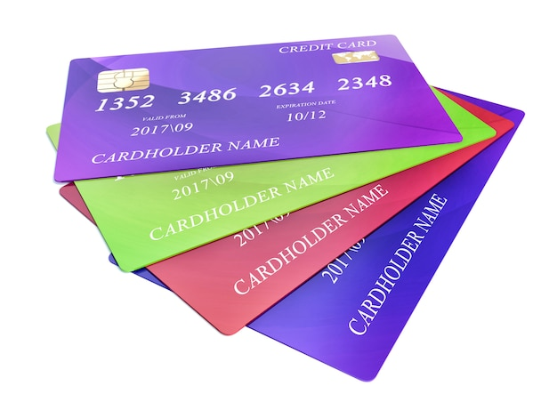 Set of color credit cards isolated