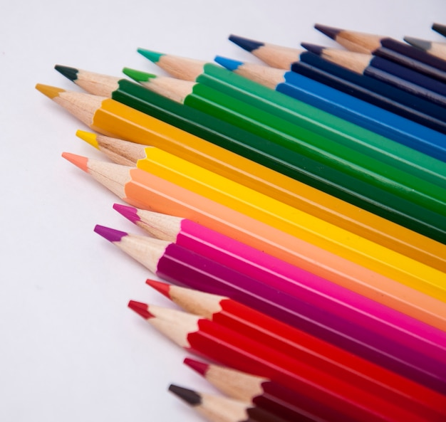 Set of color pencils for painting with blur