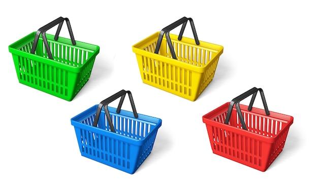 色の買い物かご、緑、黄、青、赤を設定します。白い背景で隔離。 3dレンダリング。