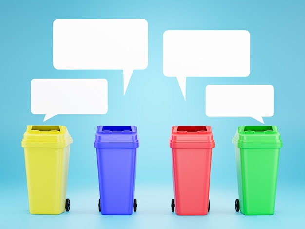 Set of colored bins for recycling