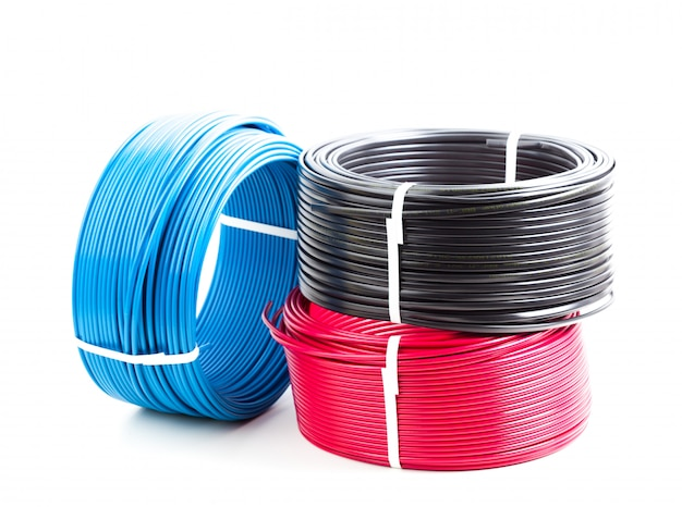 Set colored electric cable on white