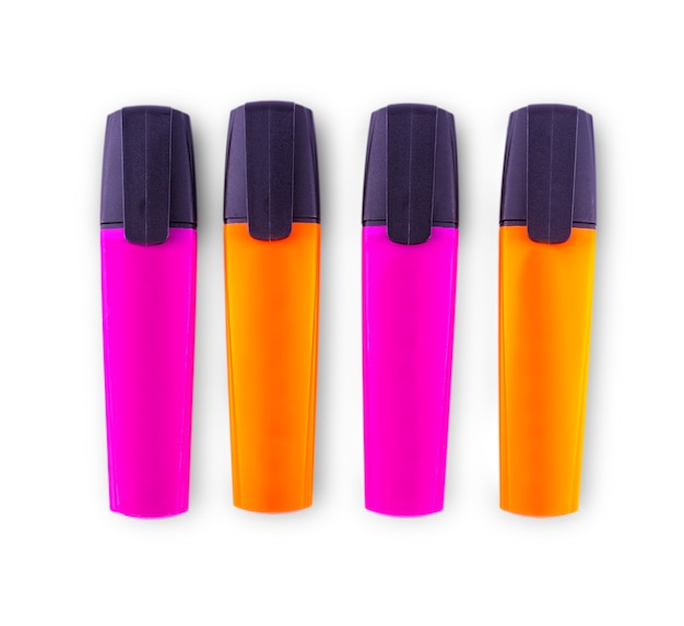 Set of colored markers for business on a white wall.