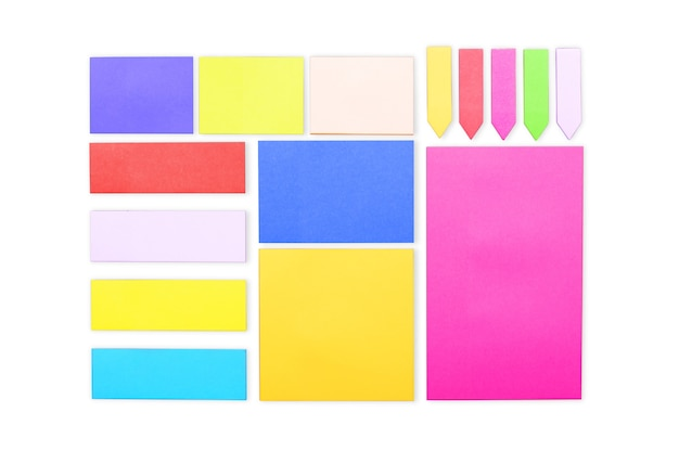 Set of colored paper stickers of different shapes with curled corners isolated
