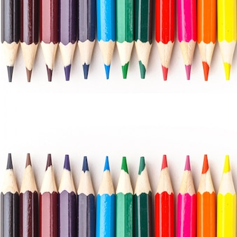 Set of colored pencils on white background. isolated.
