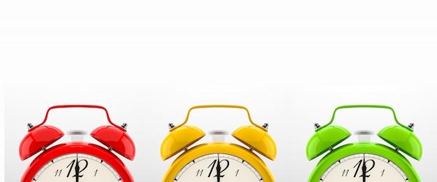 Set of colorful alarm clocks