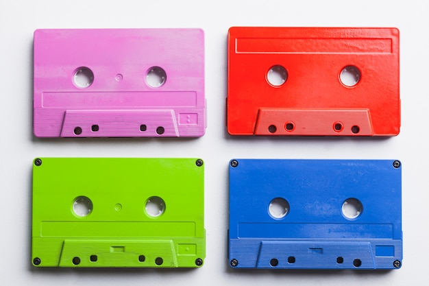 Set of colorful cassettes