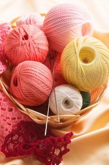 Set of colorful cotton yarn (close up shot)