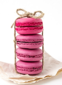 Set of colorful macaroons isolated on white surface. sweet macaroons