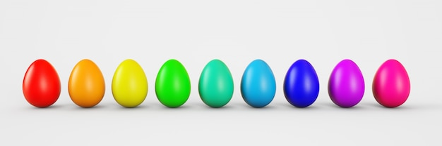 Set of colorful realistic easter eggs isolated on white background. 3d rendering illustration.