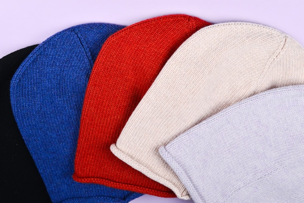 Set of colorful warm hats.