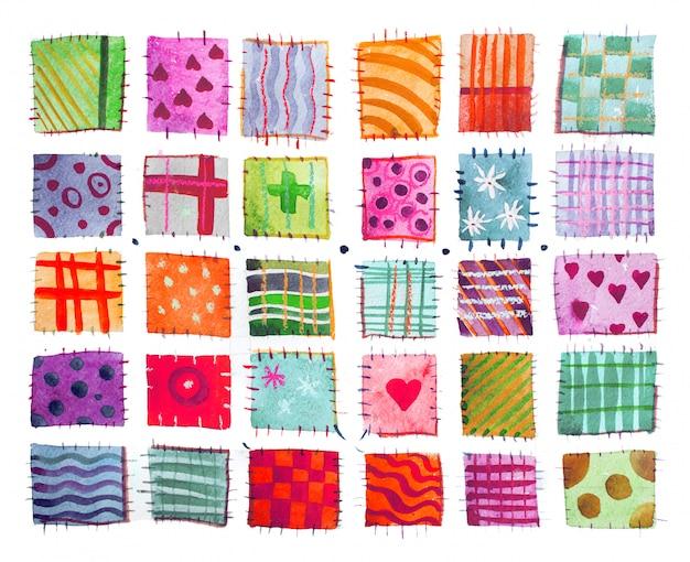 Set of colorful watercolor prints