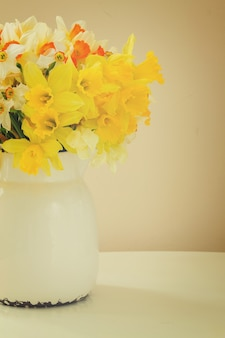 Set of colourful freshly cut flowers