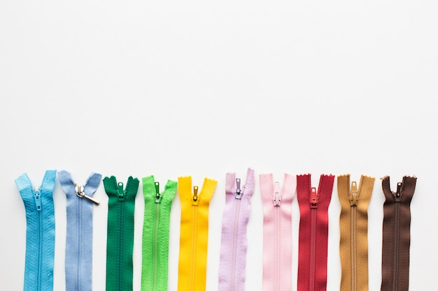 Set colourful zippers for sewing and needlework