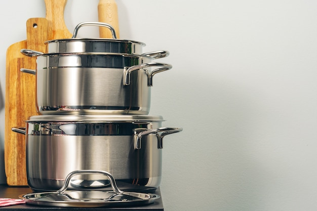 Set of cookware utensils on a kitchen counter