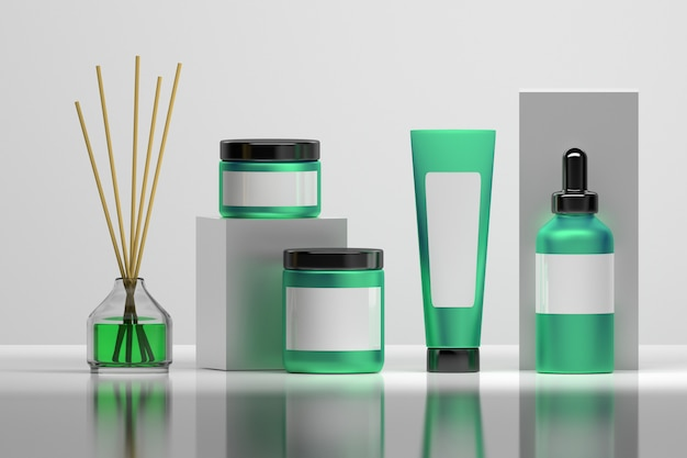 Set of cosmetic bottles in pure green and white with glassy home perfume diffuser.