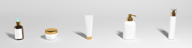 Set of cosmetic jars on a white background, banner, mocap. high quality photo