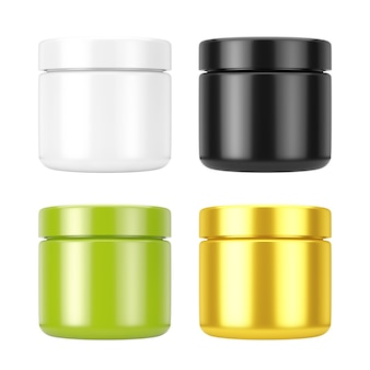 Set of cosmetic jars with lid for cream or gel mockup on a white background. 3d rendering