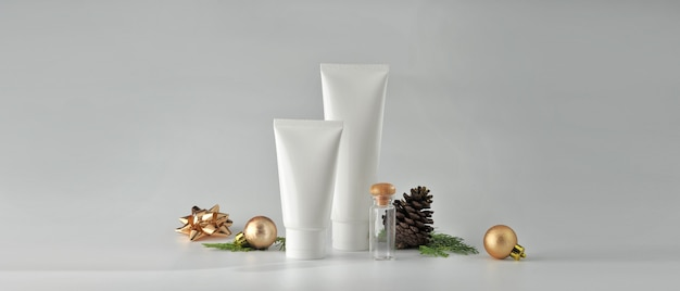 Set of cosmetic products on white background. cosmetic package mock up collection