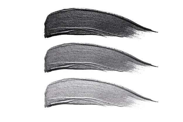 Set of cosmetic samples strokes, black and grey metallic stroke