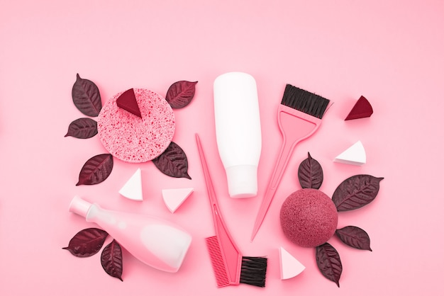 Set of cosmetics for the body, toned image coral