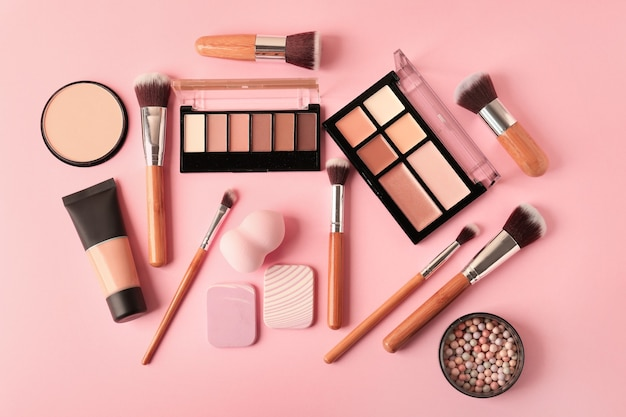 Set of cosmetics for contouring makeup on color
