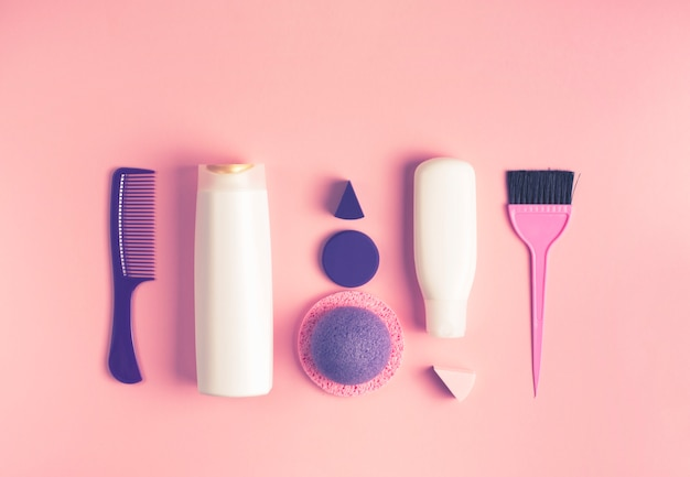 A set of cosmetics and items for body and hair care