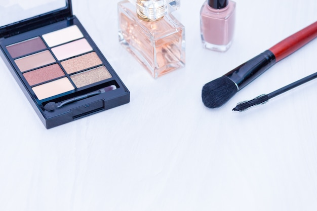 Set of cosmetics for make up (brushes, shadows). make up nude essentials