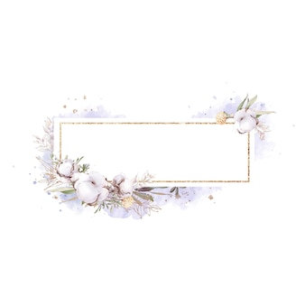 Set of cotton flowers in a gold frame. watercolor illustration.