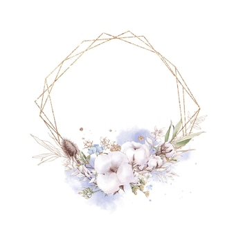 Set of cotton flowers in a gold frame. watercolor illustration