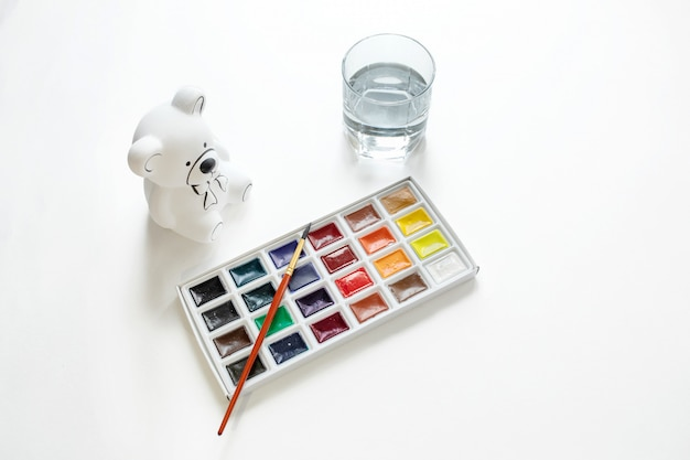 Set for creativity. paint, paint, draw, on white background top view