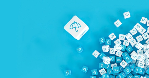 Set of cubes with the image of weather phenomena scattered on a surface