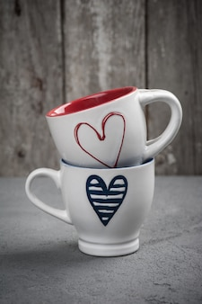 Set of cups with hearts