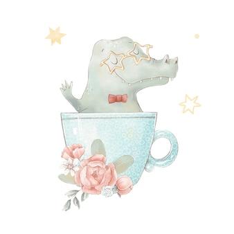 Set of cute cartoon crocodile in a cup. watercolor illustration