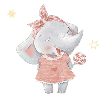 Set of cute cartoon elephant in a hot air balloon. watercolor illustration.