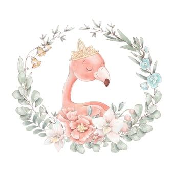 Set of cute cartoon flamingos and flowers. watercolor illustration.